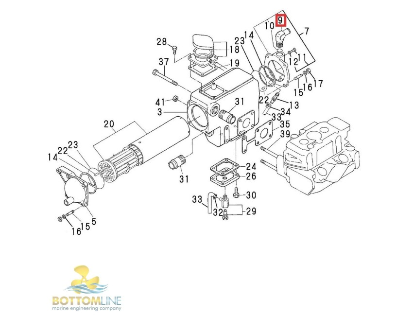 Yanmar Tractor Cooling System Parts : Genuine yanmar gm f gmf heat exchanger