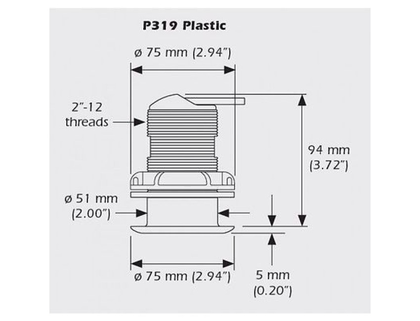 LOWRANCE / Airmar P319 - Through hull Transducer - x-sonic plug - 50/200 kHz