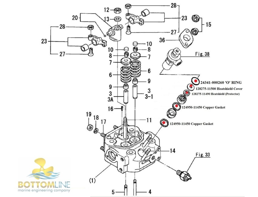 YANMAR - 1-3GM - Fuel Injector sealing / installation kit - Diesel ENGINE  PARTS