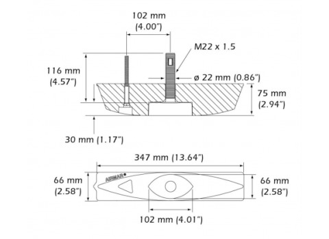 Lowrance Simrad B45 - 600W Bronze Through Hull Transducer - 000-13946-001